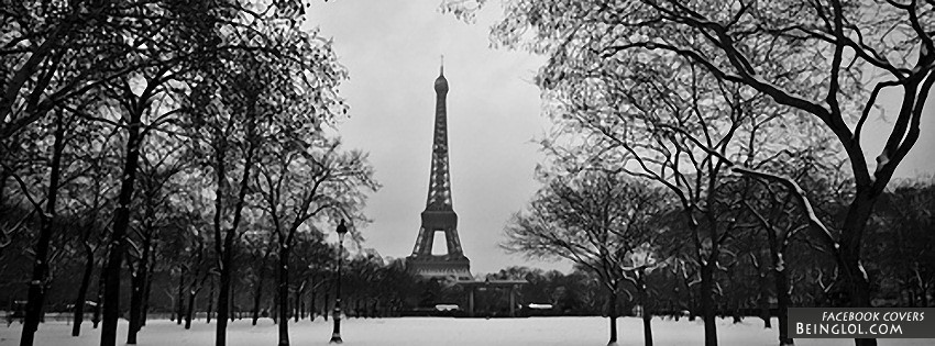 Black And White Eiffel Tower Facebook Cover