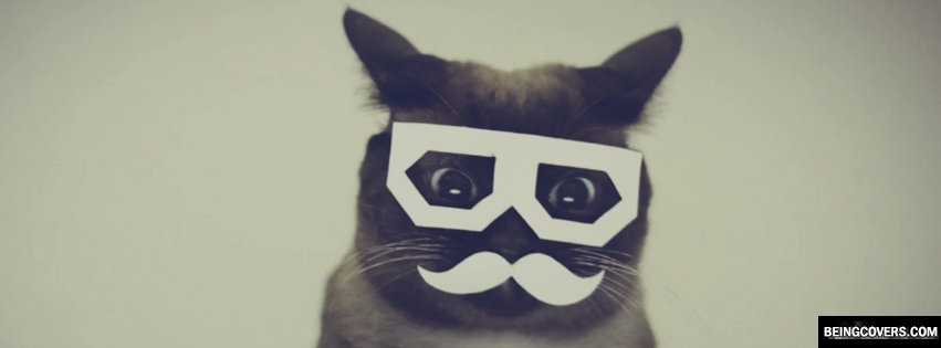 Cat Mustache Glasses Facebook Cover