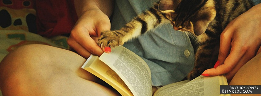 Cute Cat Reading Facebook Cover