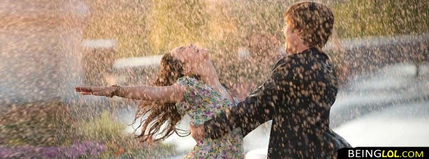 Cute Couple In Rain Facebook Cover