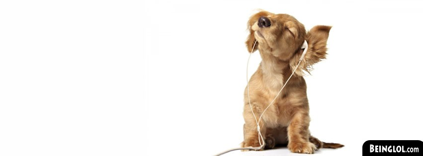 Cute Puppy With Headphones Facebook Cover