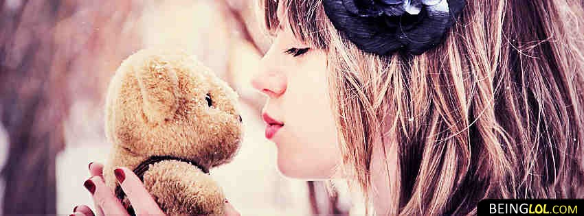 Cute Teddy Bear And Girl Facebook Cover