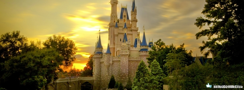 Disney Land Castle Sunset Facebook Cover