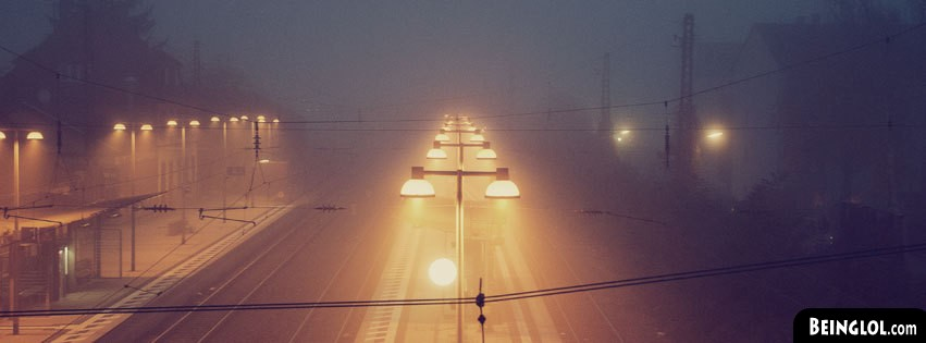 Evening Fog Train Tracks Facebook Cover