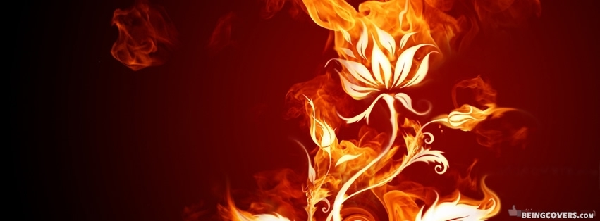 Fire Abstract Flower Facebook Cover