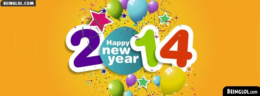Happy New Year 2014 Confetti Facebook Cover