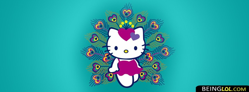 Hello Kitty Peacock Feather Facebook Cover