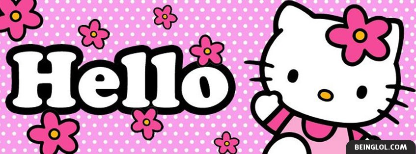 Hello Kitty Pink Polka Dots Facebook Cover