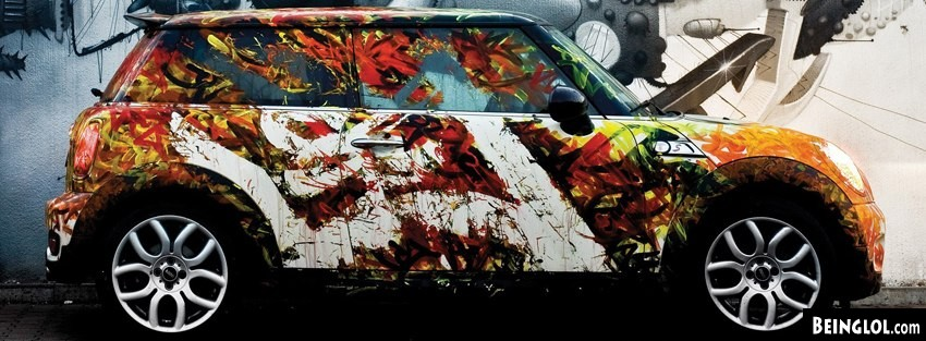 Mini Cooper Graffiti Street Art Facebook Cover
