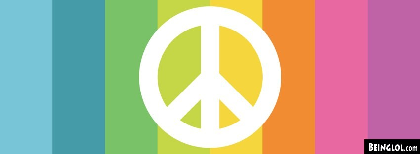 Minimalistic Peace Sign Rainbow Facebook Covers Facebook Cover