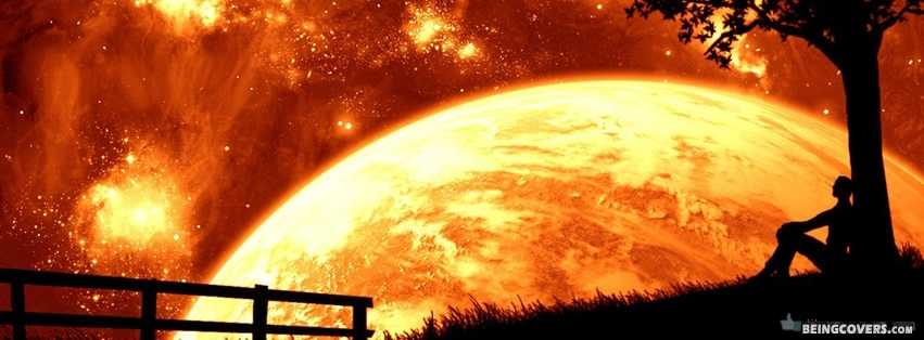 Orange Planet And Sky Facebook Cover