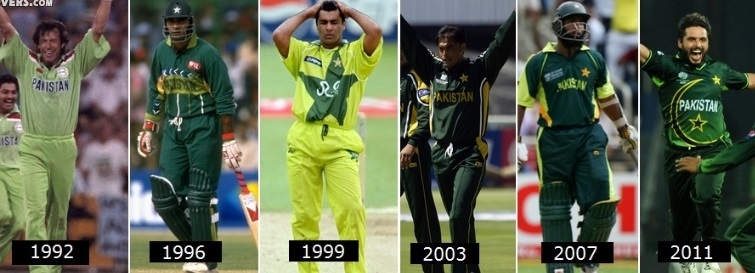 Pakistani Cricket Team's Kit In World Cup History Facebook Cover