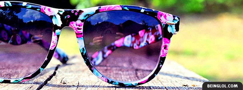 Pink Flowery Sunglasses Facebook Cover