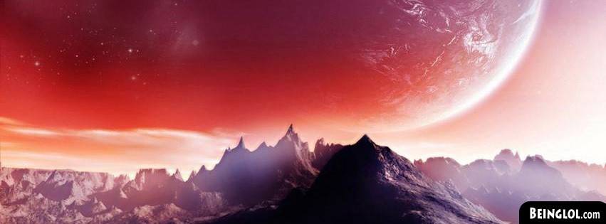 Planet Over Mountain Pic Facebook Cover