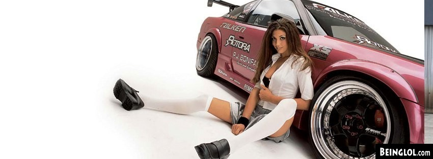 Racing Car School Girl Facebook Cover