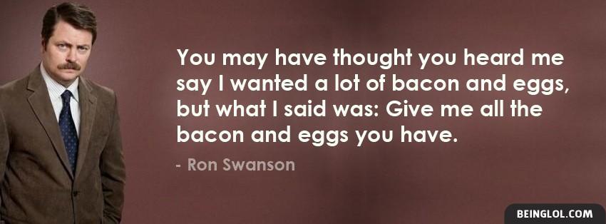 Ron Swanson Loves Bacon Facebook Cover
