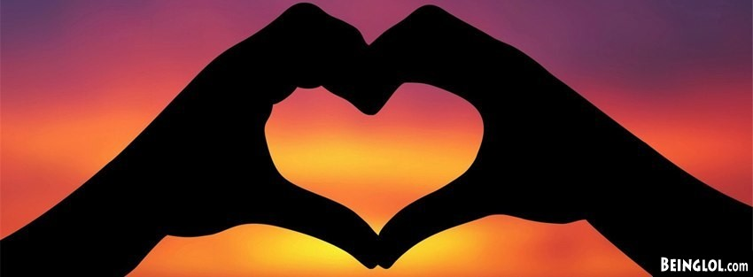 Sunset Hand Heart Facebook Cover