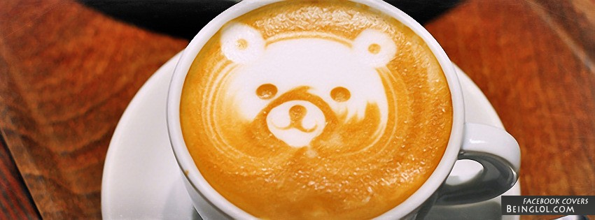 Teddy Bear Coffee Art Facebook Cover