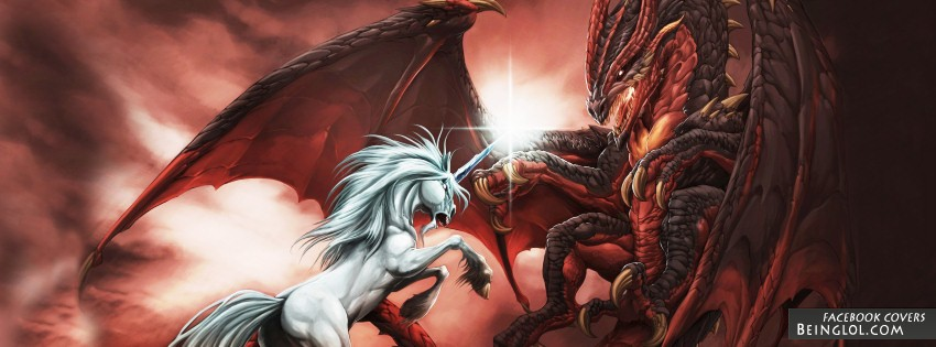 Unicorn Vs Dragon Facebook Cover