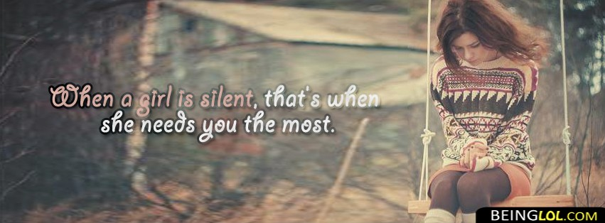 When A Girl Is Silent.. Facebook Cover