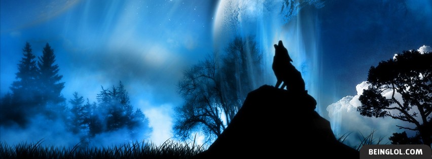 Wolf Howling In Moonlight Facebook Cover