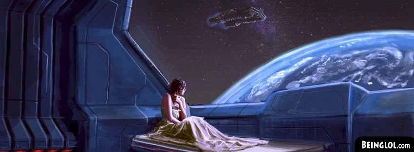 Woman In Outer Space Bed Fantasy Art Facebook Cover