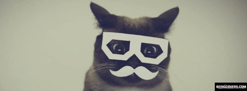 Cat Mustache Glasses Facebook Cover