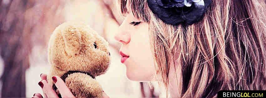 Cute Teddy Bear And Girl Facebook Cover