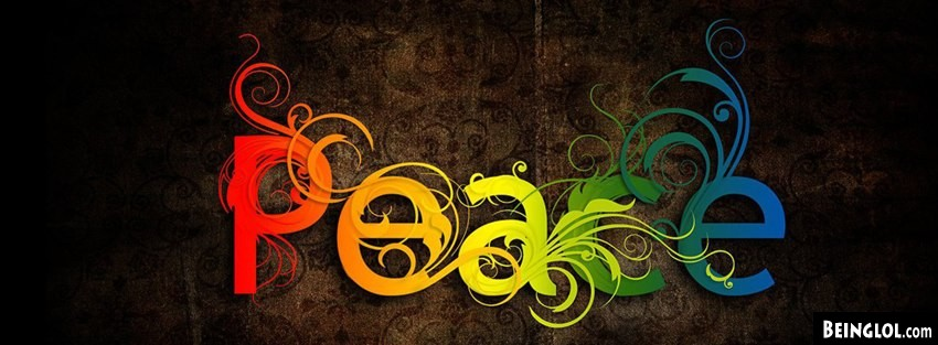 Rainbow Peace Type Facebook Cover